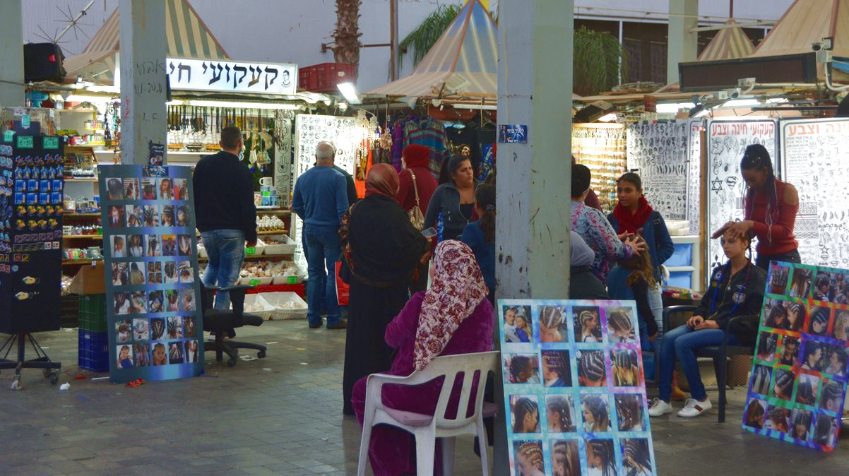 Bazaaren i Eilat på kvällen