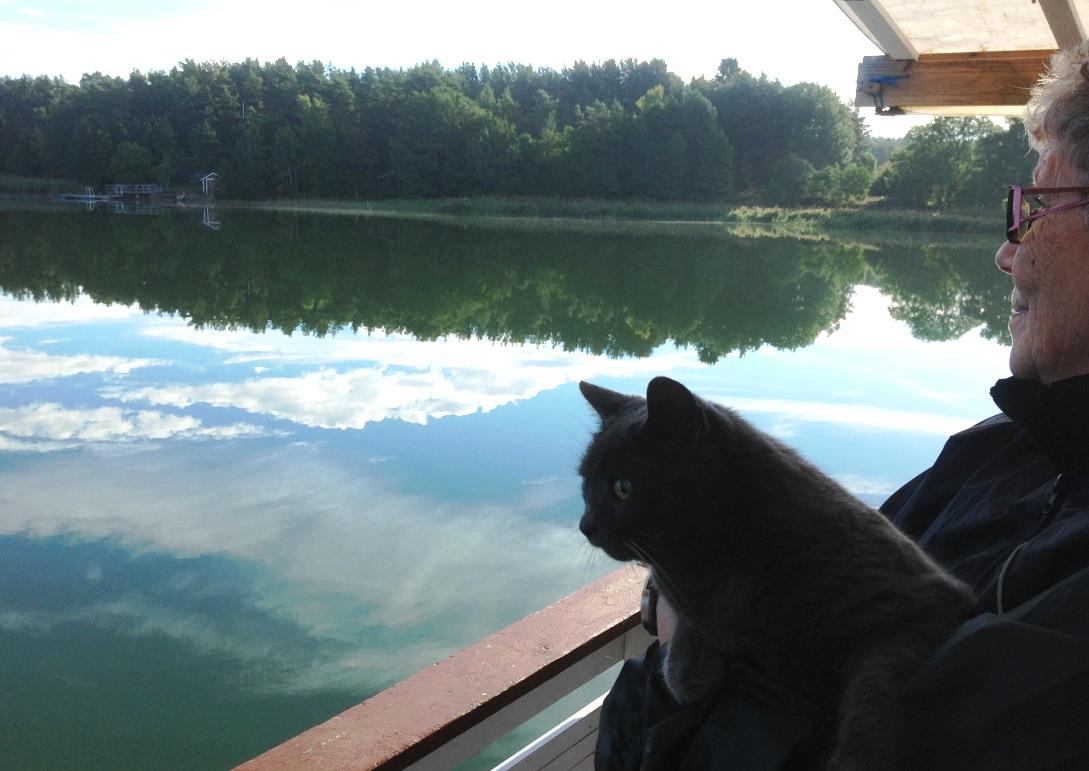 Hustrun Birgitta och katten blickar ut över relingen på husbåten