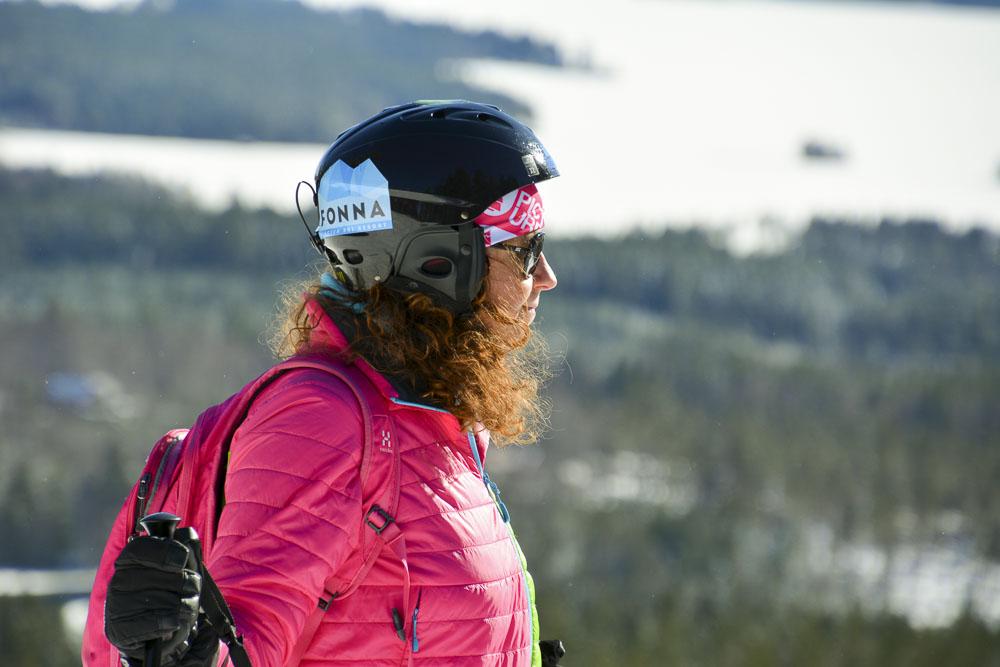 Camilla Gunnarsson i skidbacken