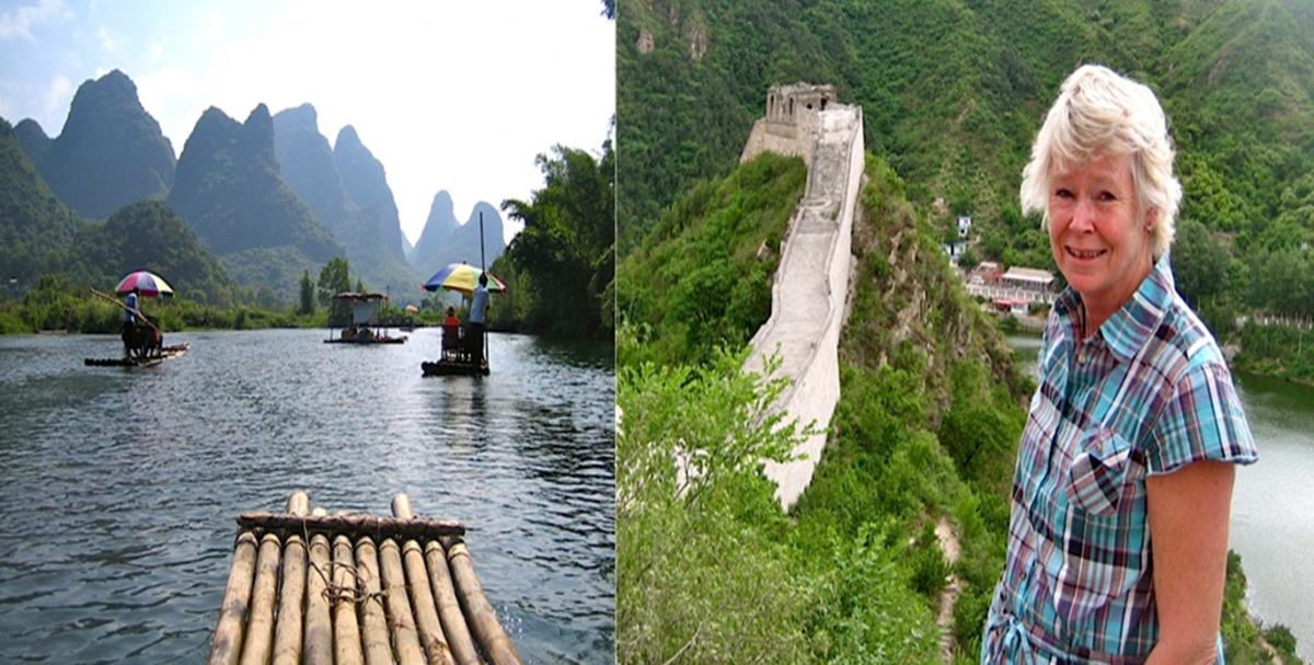 """Södra Kina i Yangshouområdet och """"Sockertoppsbergen"""", samt Ditte Akker vid Kinesiska muren"""