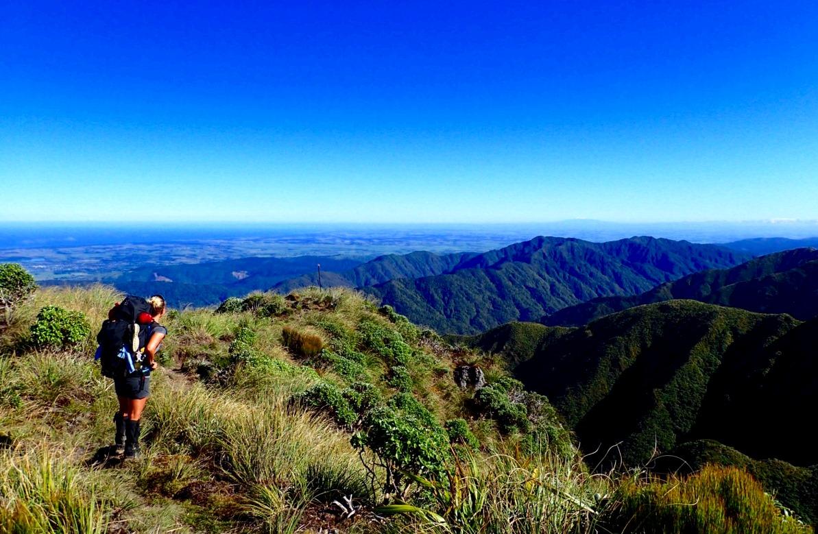 Helena tittar ut över de utmanande Tararua Ranges på Nordön, dagen innan skräckupplevelsen på Mount Crawford