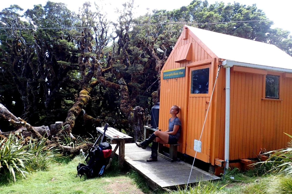 Lunchpaus vid Dracophyllum Hut, den minsta stugan i Tararua Ranges, med plats för två personer