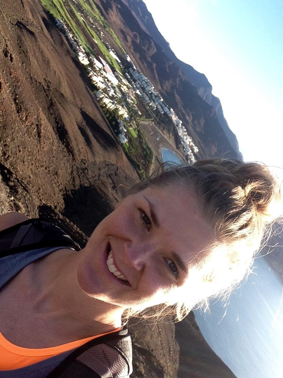 Johanna på en träningsresa till Fuerta Ventura hösten 2015