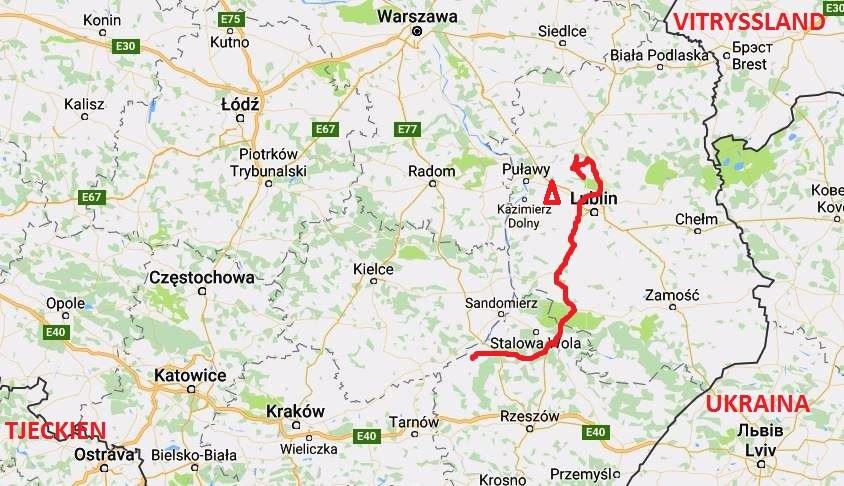 Karta resväg Polen