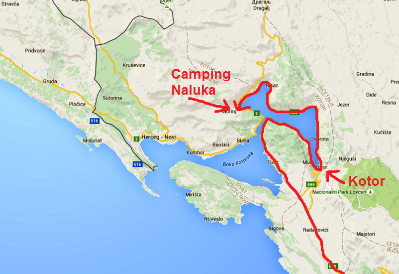 Karta över Kotorbukten och hur vi har kört hittills