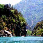 Med trampbåt i floden Verdon