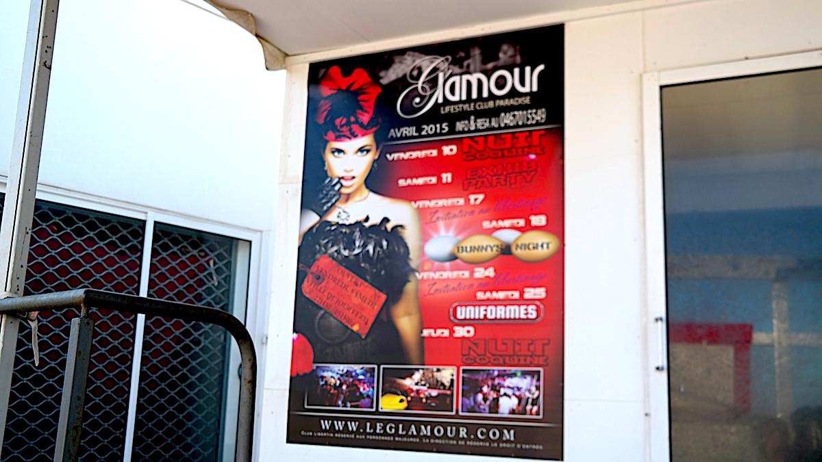 Nattklubben Glamour i Cap d'Agde. Nakenstaden i Frankrike.
