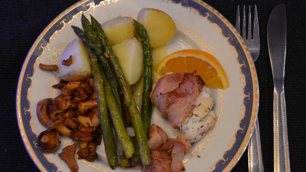 Recept på fisk - Baconinlindad marulk