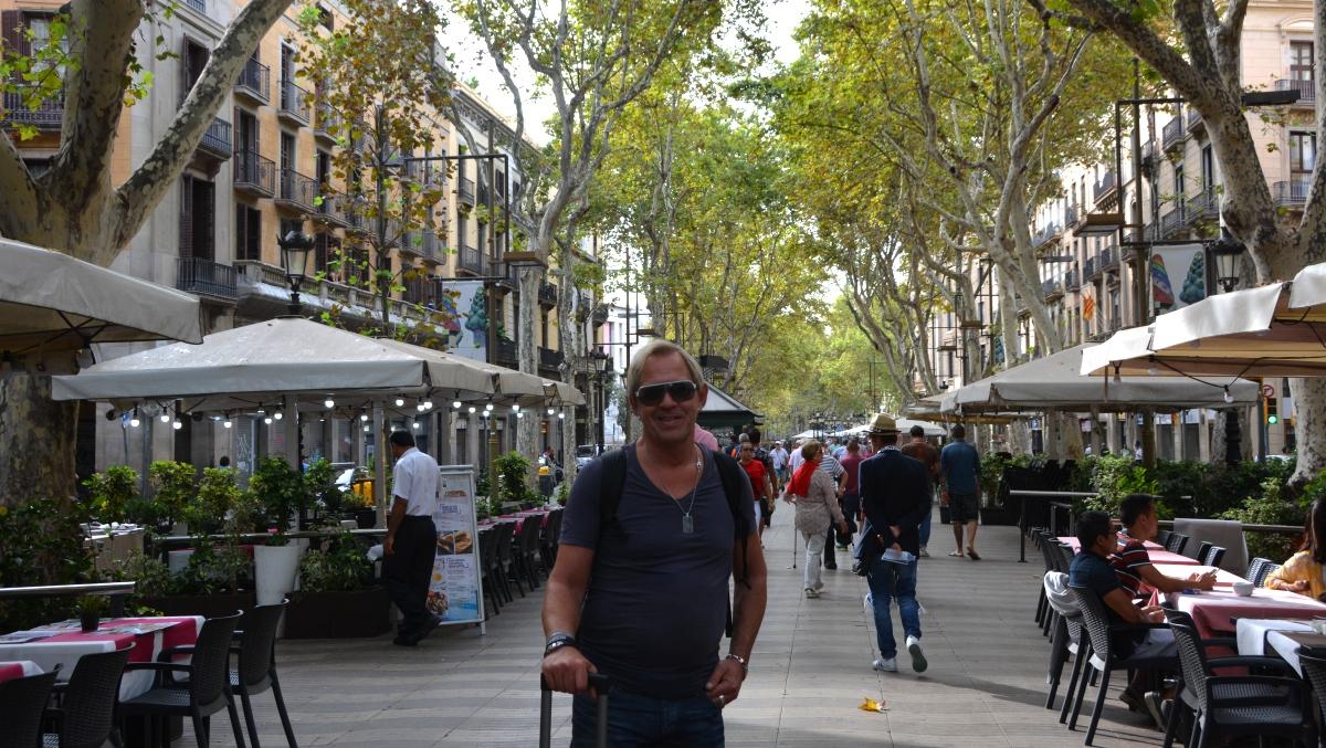 Peter på La Rambla i Barcelona