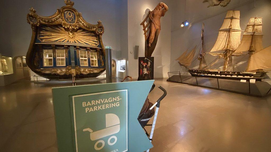 Barnvagnsparkering på Sjöhistoriska museet i Stockholm