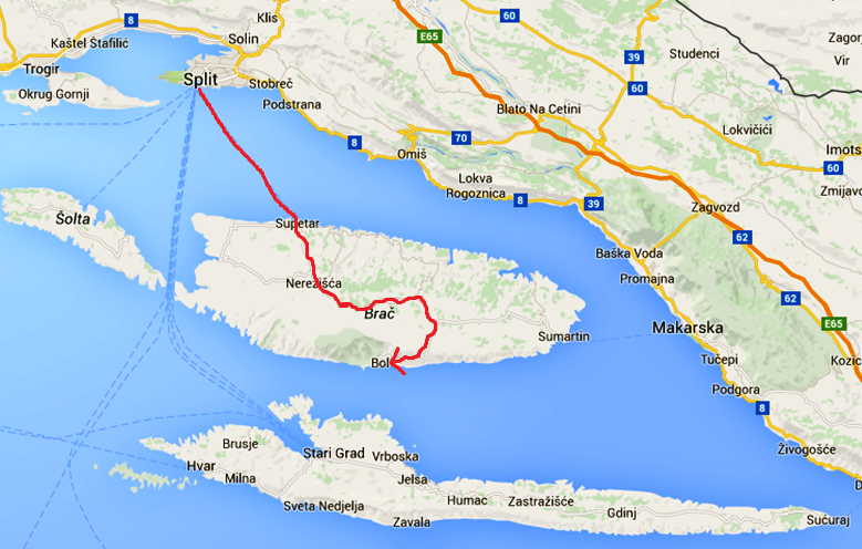 Färjevägen från Split, samt vägen över Brac för att komma till Bol