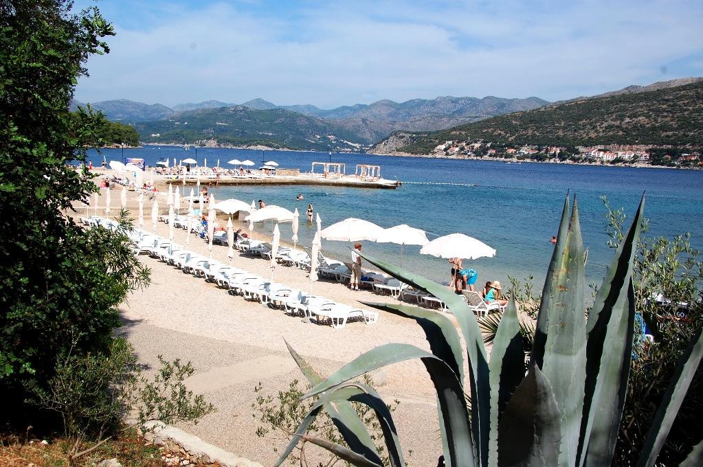 Utsikt över Valamar beach, camping i Dubrovnik