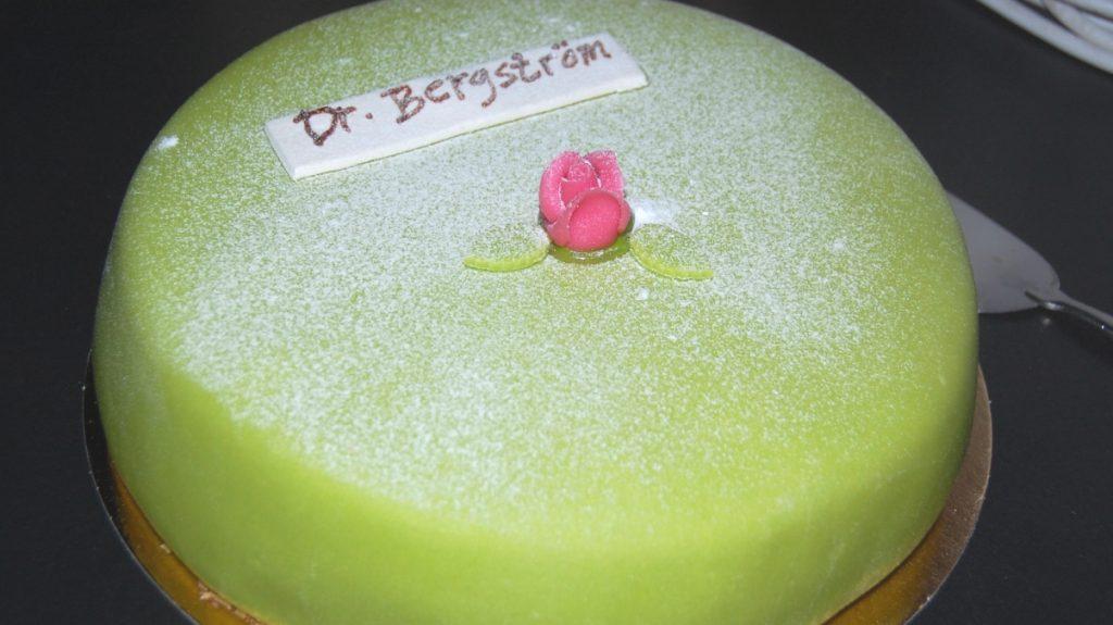 Tårta på disputationsfest efter disputation