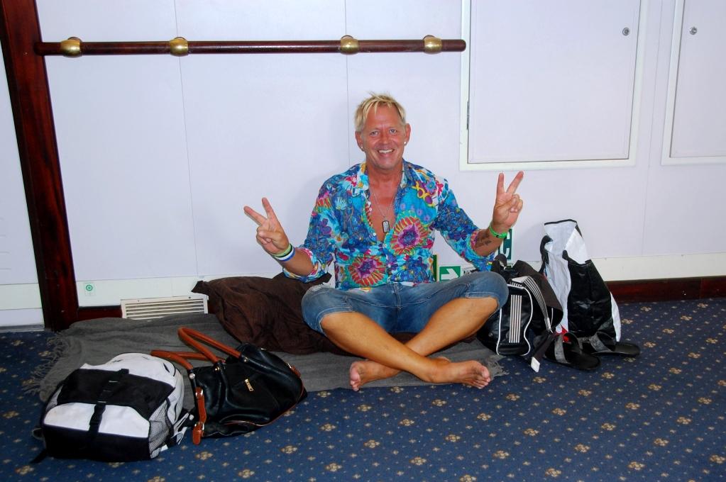 Peter vid vår sovplats på färjan till Grekland