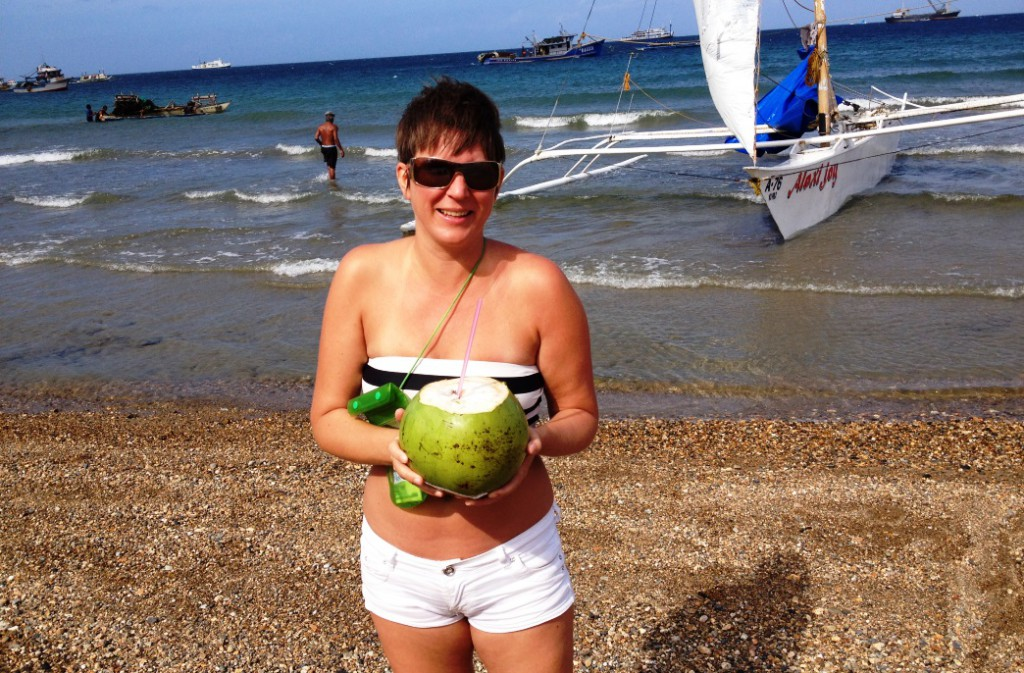 Helena under segeltur (kokosnötspaus) i Boracay