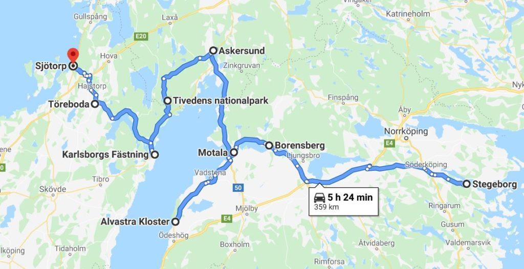 Göta kanal med husbil - karta