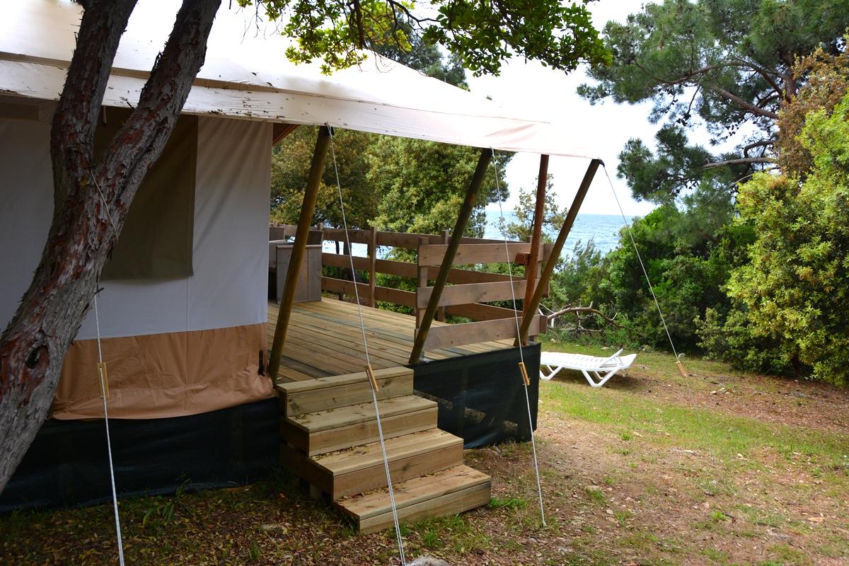 Glamping på camping Koversada, Vrsar i Kroatien
