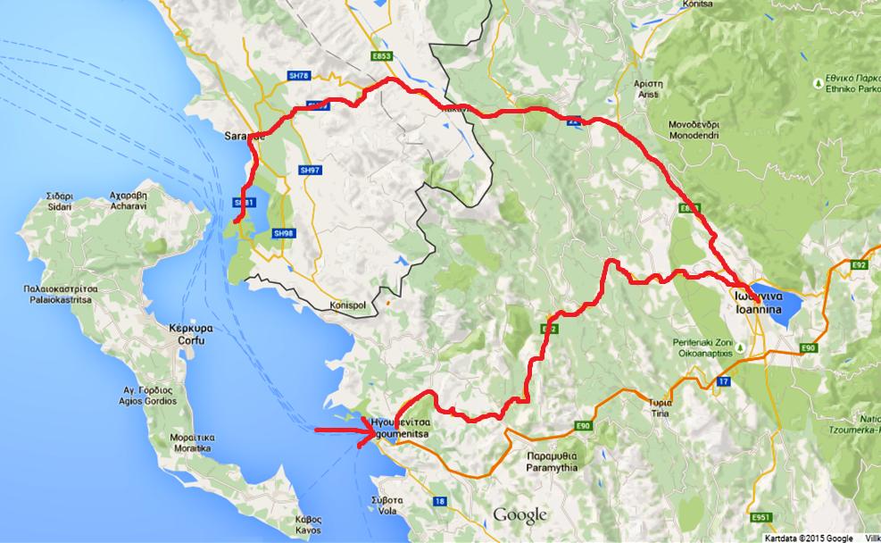 Kartbild som visar hur vi kört sedan vi kom med färjan till Grekland