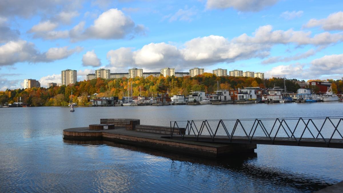 Hornsbergs strandpark Stockholm och Sandö sugga fyr