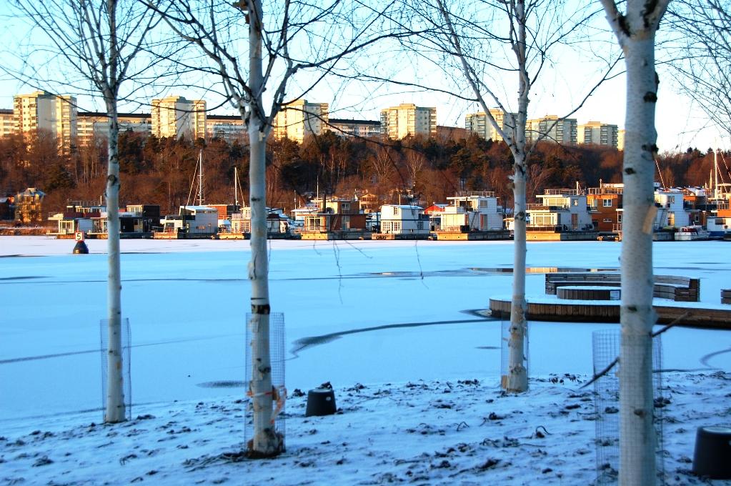 På andra sidan ser man husbåtarna i Pampas, i en isfri marina