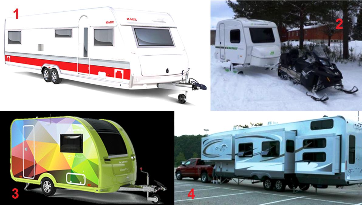 1 Husvagn från Kabe, 2 Fritidsvagnen - som kan skifta mellan hjul och skidor, 3 husvagn från Adria och 4 en amerikansk trailer
