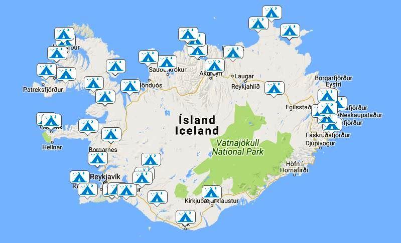 Island campingplatser