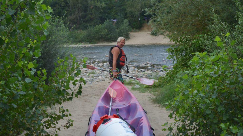 kanot och på väg till Pont d'Arc