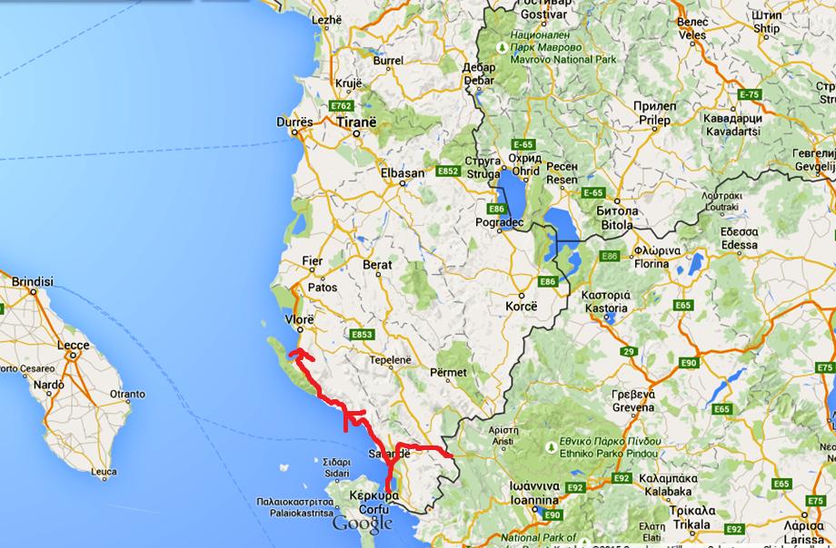 Kartan visar hur vi kört i Albanien. Den sista pilen visar dagens sträcka.