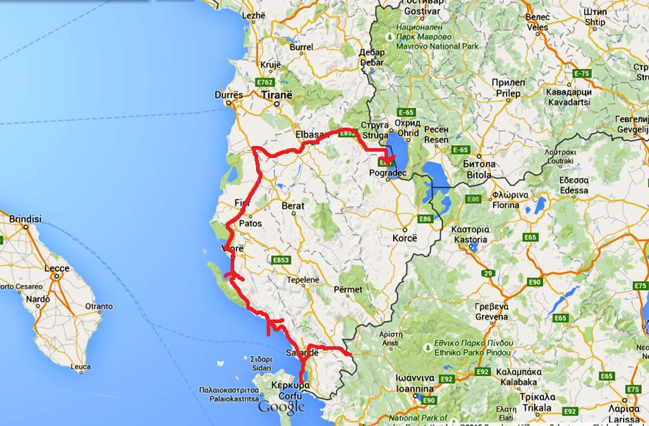 Karta över vägen vi kört i Albanien - den sista pilen visar vägen vi kört idag