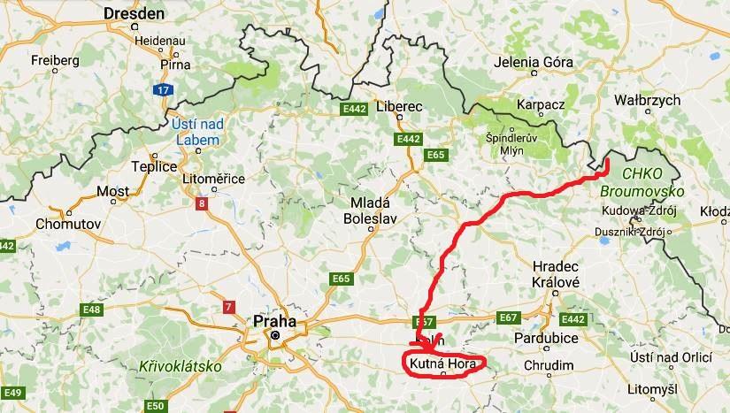 Karta över Tjeckien och Kutna Hora