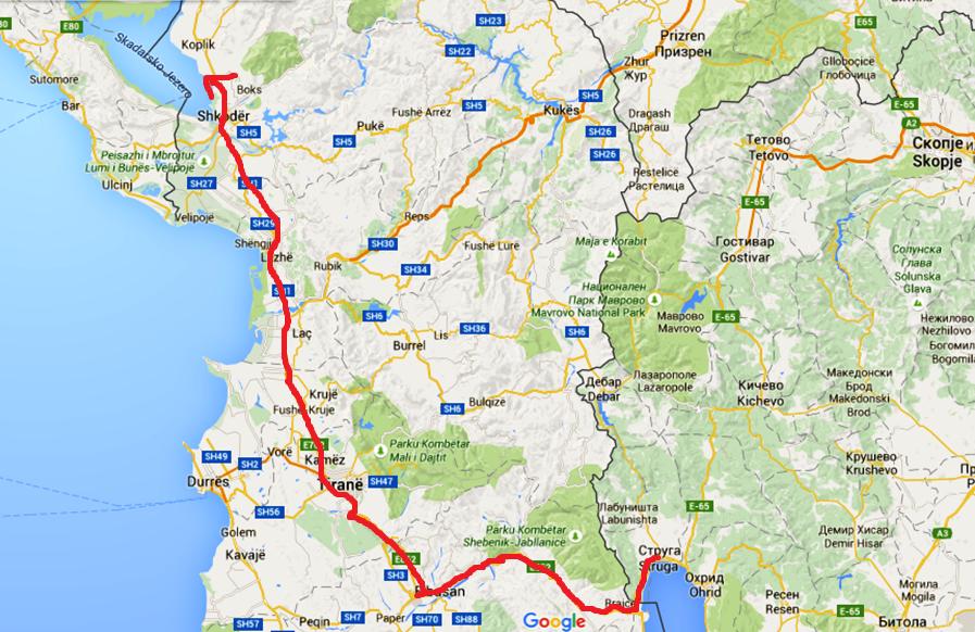 Vägen vi åkt idag - från Struga i Makedonien till Shkoder i Albanien