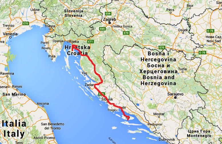 Vägen som vi kört idag, från Bol på Brac till en by strax söder om Rijeka