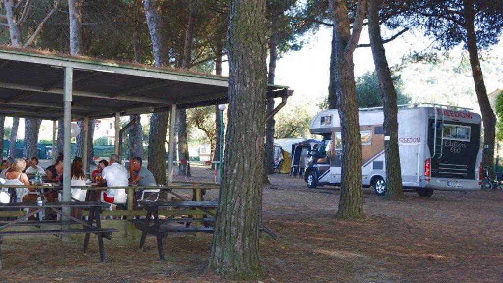 Med husbil på en camping vid Lago di Trasimeno 2018