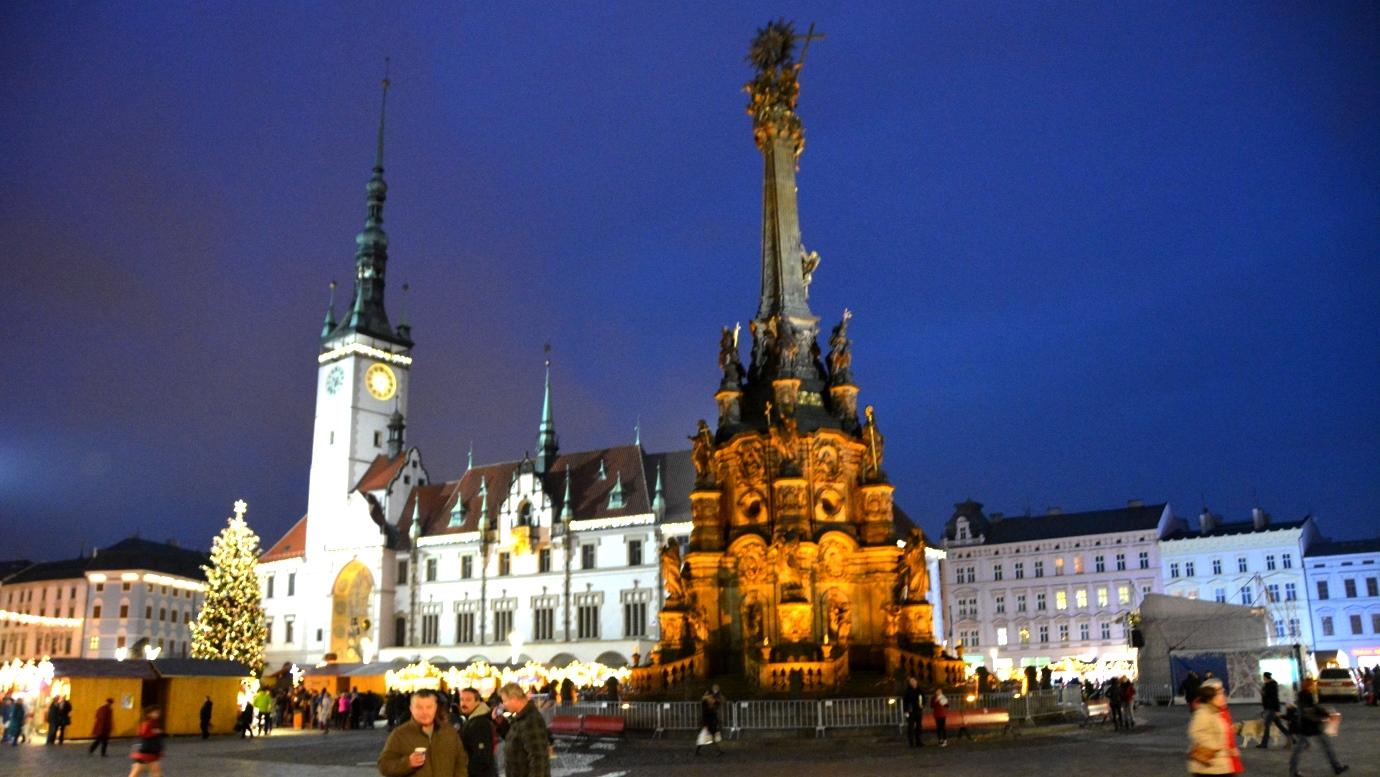 Upper square i Olomouc, med treenighetskolonnen
