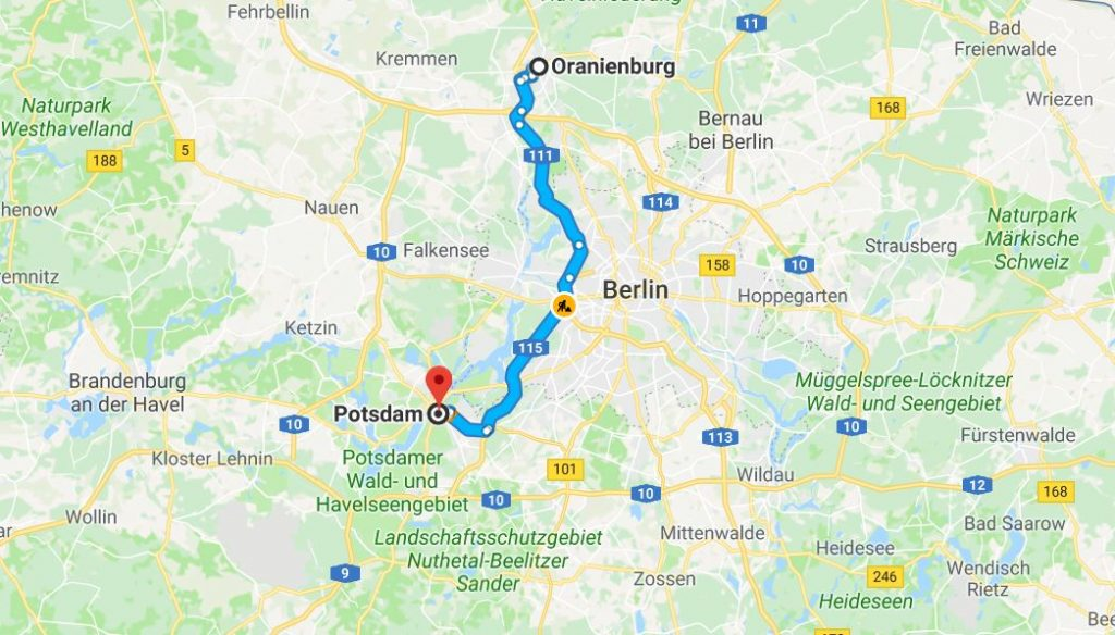 Oranienburg till Potsdam