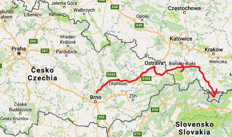 Karta från Brno till Zakopane
