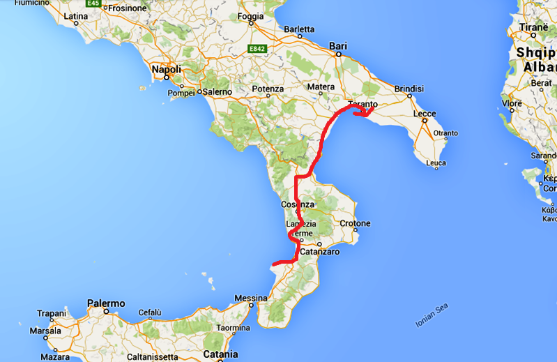 En karta som visar hur vi körde igår