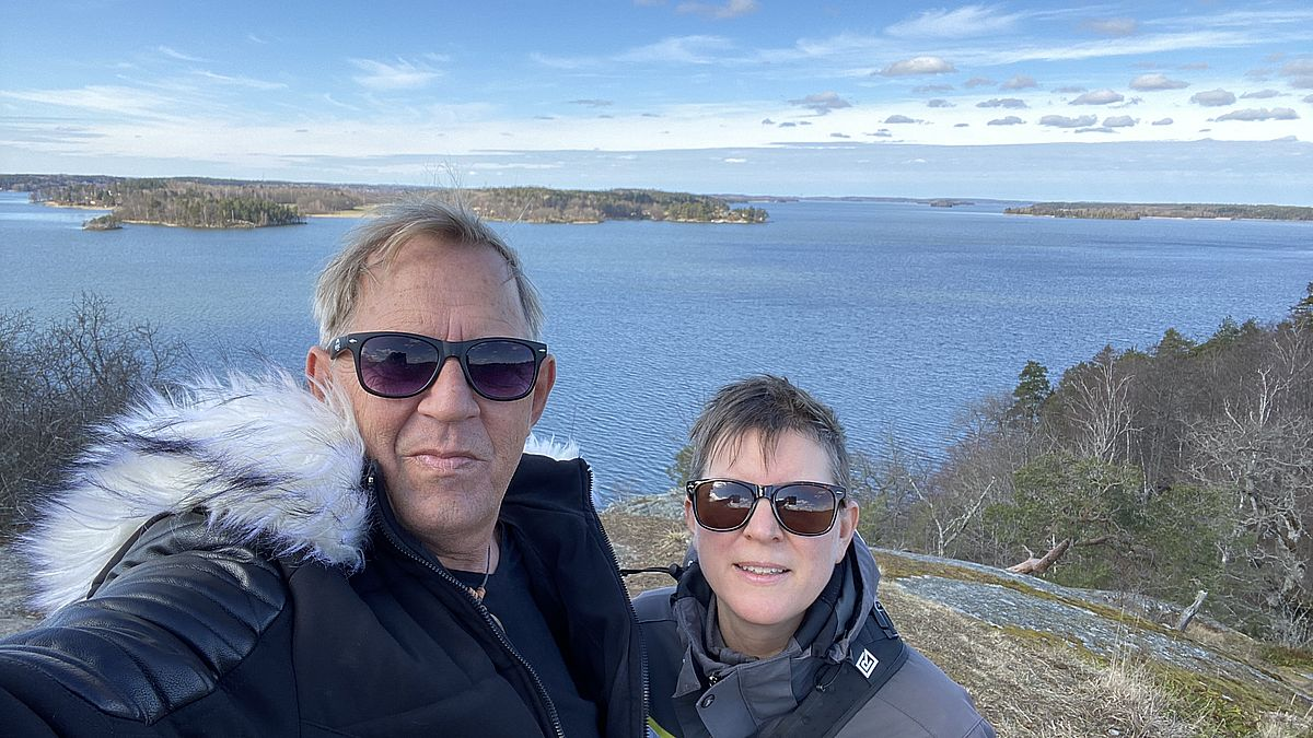 Peter och Helena vid Görvälns naturreservat