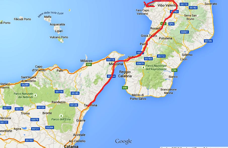 Kartbilden visar hur vi körde igår - från Taormina på Sicilien till Tropea i Kalabrien