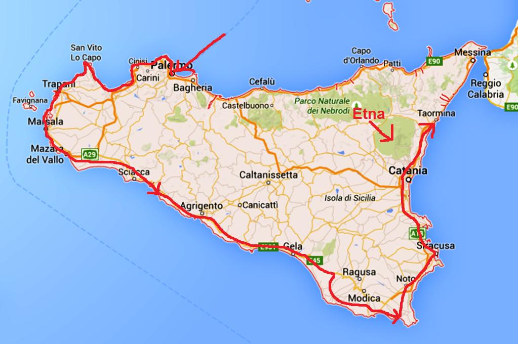 Kartbilden visar hur vi har kört på Sicilien samt vulkanen Etna