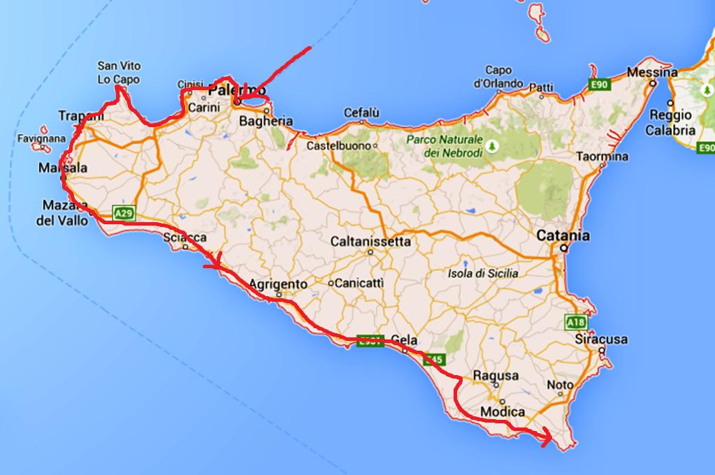 En kartbild över hur vi har rest hittills på Sicilien