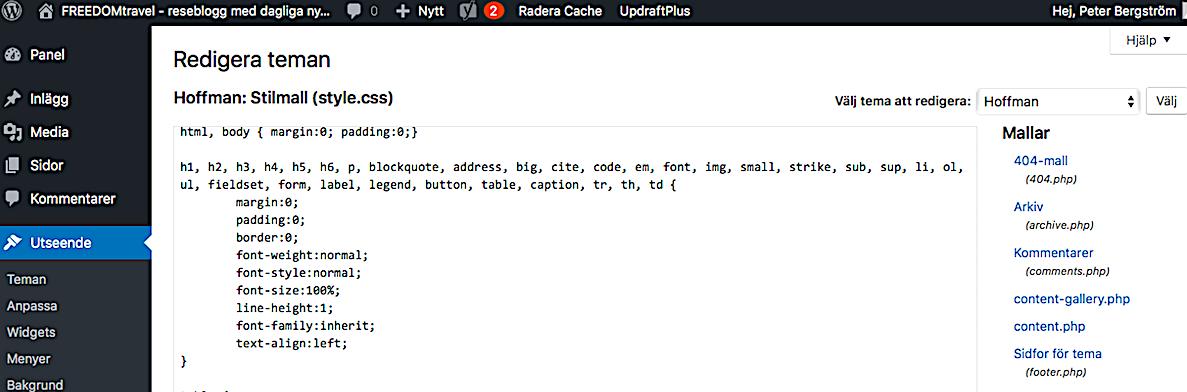 Koder för bloggen