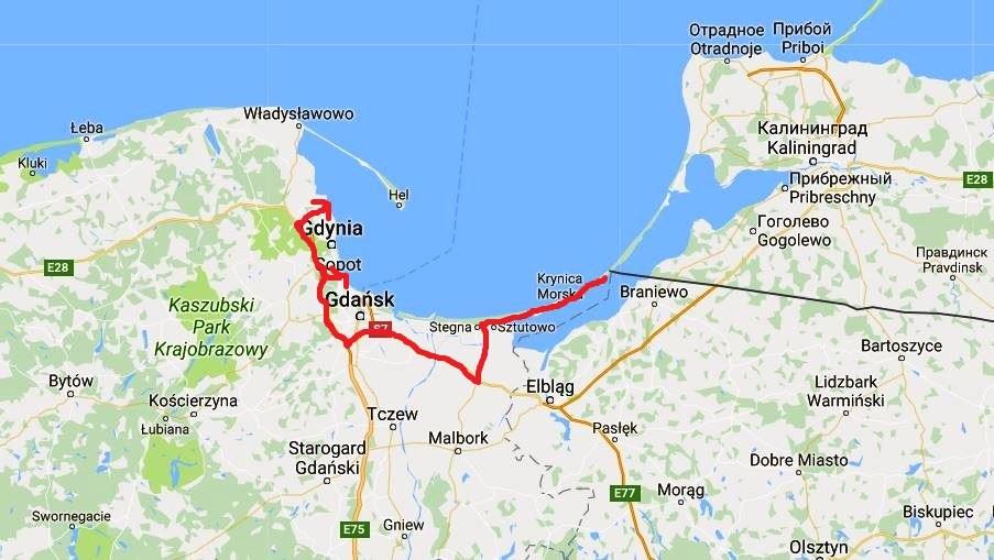 Karta Polens kust