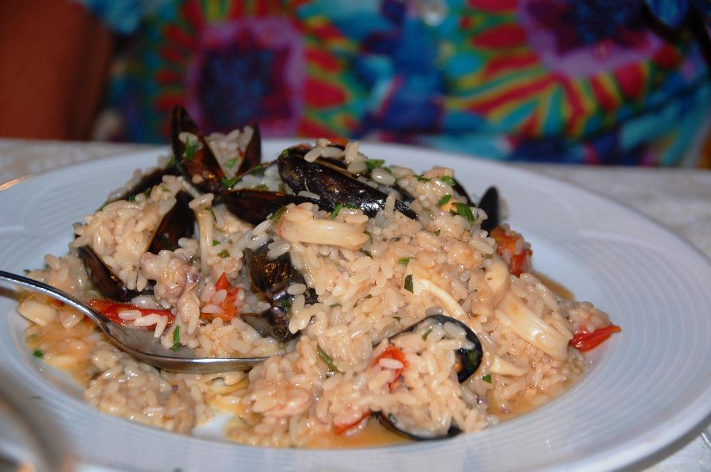 Riktigt god skaldjursrisotto med räkor, bläckfisk och blåmusslor på ställplats i Albanien
