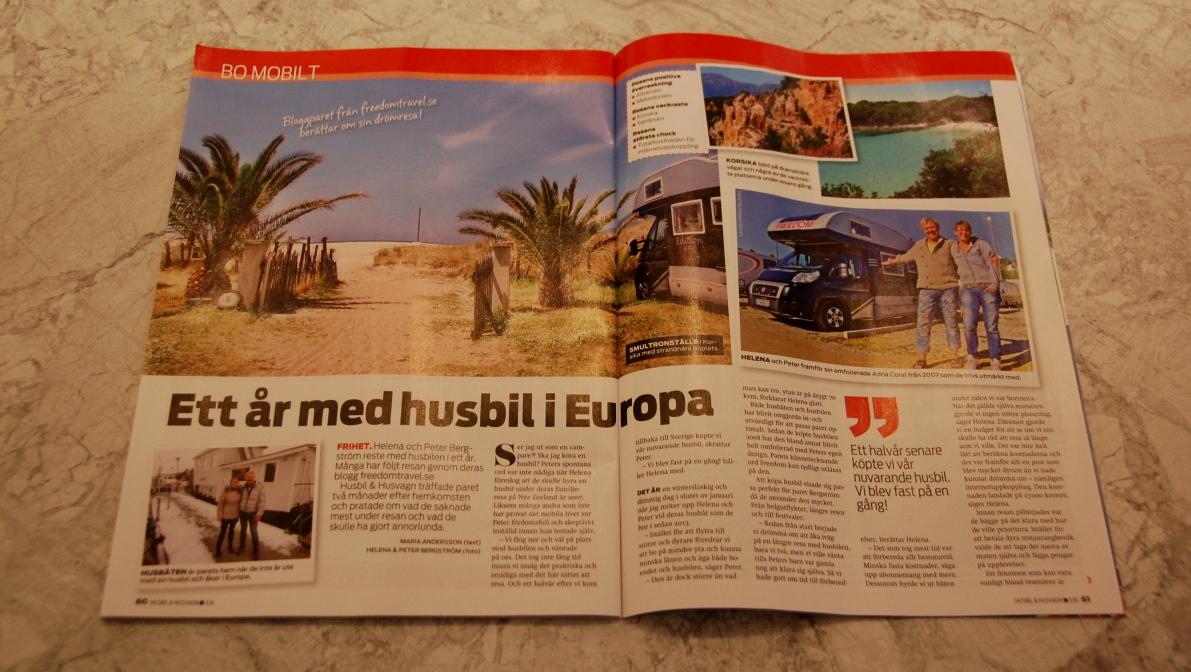 Reportage om oss i tidningen Husbil & Husvagn