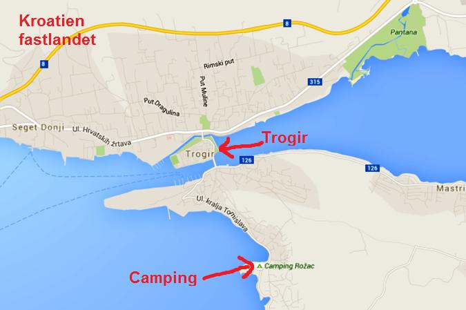 Staden Trogir ligger på en liten ö, och fortsätter både in på fastlandet och ut på nästa ö