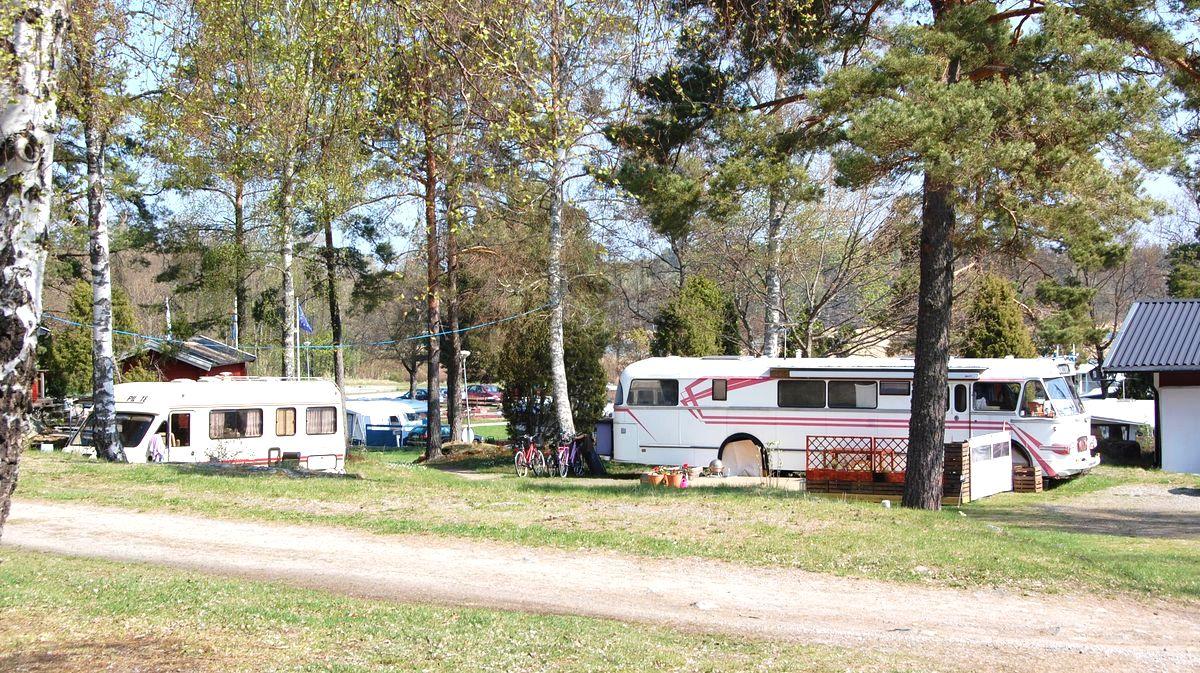 Fler husbilar och husbussar på campingen