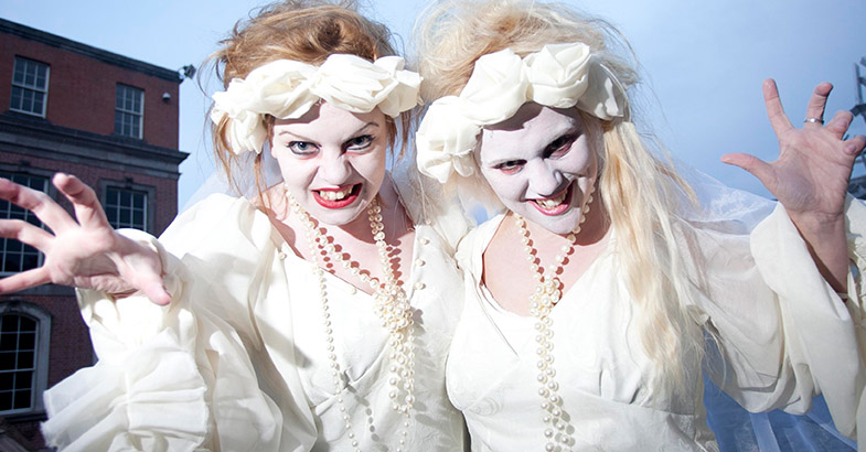 Two girls in fancy dress