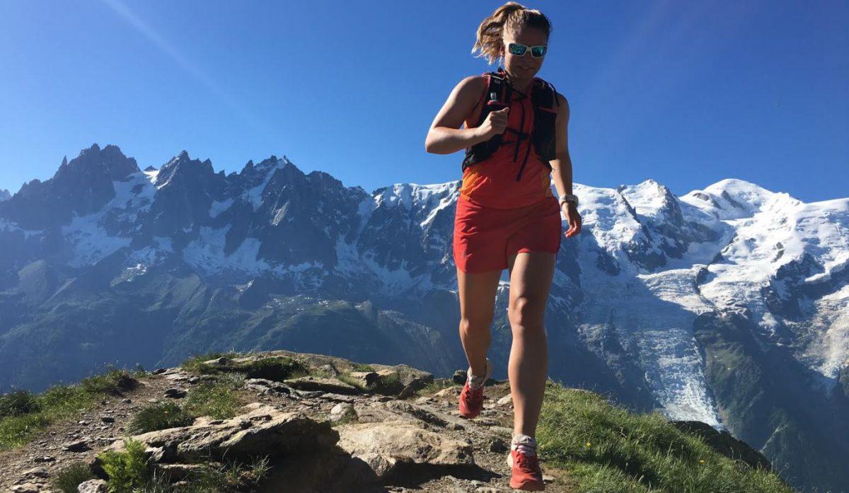 Katrin Olsen, Chamonix sommeren 2016; lang løpetur i høyden for å trene til Haukeli Ultra Trail. Man ser Mont Blanc i bakgrunnen.